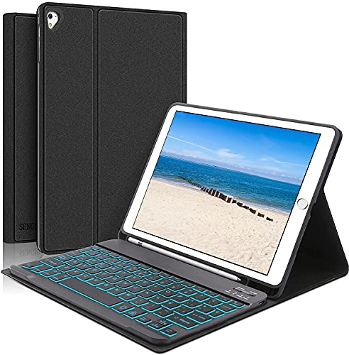 KVAGO Funda con Teclado para iPad iPad 6 2018/iPad 5 2017 9.7' Modelos - Diseño en Español Teclado Bluetooth Retroiluminado Compatible con Air 2/Air/Pro 9.7, Cover Auto-Sueño/Estela, Negro