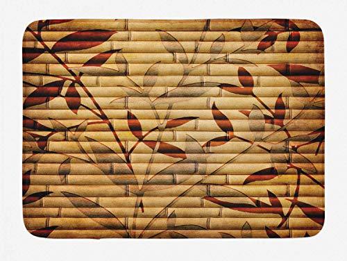 AoLismini Beigefarbener Badteppich, Bambusstämme und Blattzeichen auf diesem asiatischen spirituellen Element, böhmische, weiche Badematte mit Antirutschrücken, beige-pastellbeige