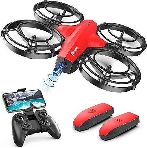 Potensic P7 Mini Drone para niños, Mini Drone con cámara 720P, Modo Batalla súper diseño, Dron WiFi FPV Control Remoto, Control de Gestos, Modo Órbita, Quadcopter Helicóptero con Headless Modo - Rojo