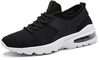 XUJW-Shoes, for Men Outdoor Hiking Fashion Sneakers Mens Walking Shoes Lace Up Style Lightweight Air Cushion Mesh Farbric Cushioning Soles Latex Insoles (Color : Black, Size : 8.5 UK)