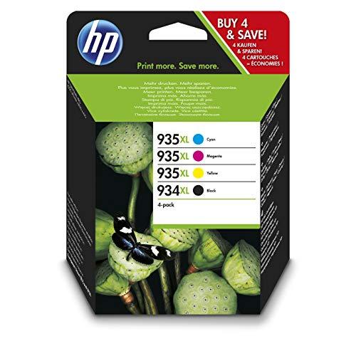 HP 934/935XL Multipack Original Druckerpatronen mit hoher Reichweite (Schwarz, Rot, Blau, Gelb) für HP OfficeJet Pro 6830, HP OfficeJet Pro 6230