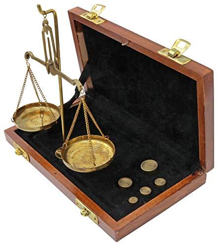 aubaho Waage Feinwaage Goldwaage Messing Apothekerwaage Holzbox Antik-Stil