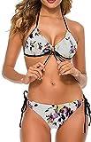Conjunto de Bikini Halter Ajustable de Dos Piezas para Mujer y niña Traje de baño Trajes de baño-Flores Florales, 2XL