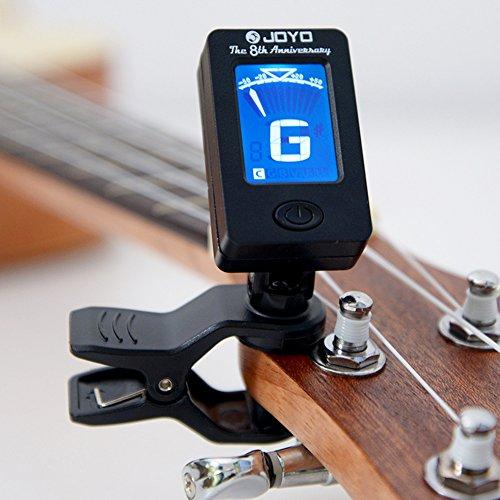 EisEyen Afinador digital LCD para guitarra, violín, ukelele, viola, violonchelo, contrabajo, violín, cromático.