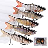 watalure Bass Fishing Lure 6 Segment Lifelike Multi Jointed Swimbait Slow Sinking Glidebait for Bass Trout Freshwater Saltwater (5pcs-Set1)