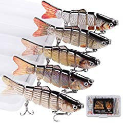 🐟【Fishing lures for bass】 Designed with 6 segmented body sections, Fishing lures deliver a natural S-shaped swimming action at any speed, affording an incredibly flexible bend to deliver extra action. Makes it a prime target for hungry fish. 🎣【swimba...