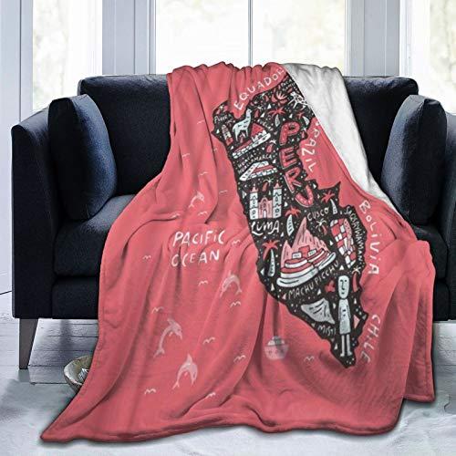 PANILUR Manta de Franela Suave,Mapa de Dibujos Animados de Lima del Perú con Todos los símbolos Principales El Atlas de Animales del país Cusco,Cama de Camping para sofá 153x127cm