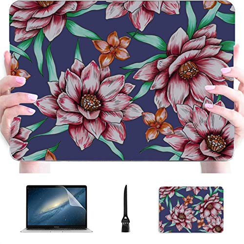 Mac Cases Yellow Chrysanthemum Flowers Plastic Hard Shell Compatible Mac MacBook Pro 13in Case Protection Accessories for MacBook with Mouse Pad