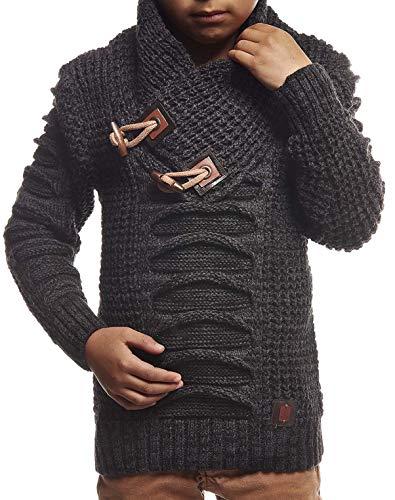 Leif Nelson Kinder Jungen Pullover Strickpullover Schalkragen Winterpullover schwarzer Pullover für Winter Hoodie Sweater Sweatshirt Langarm LN5575K 6-7 Anthrazit-Schwarz