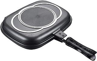 Sartén de barbacoa portátil de doble cara, sartén doble antiadherente de aleación de aluminio, sartén doble desmontable separada, para asar a la parrilla freír cocina casera acampar, fácil de limpiar