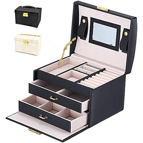 BalladHome Caja Joyero con Espejo Caja para Joyas joyero Caja de Joyas Organizador de Joyas, Caja de Relojes Caja para Relojes (Negro)