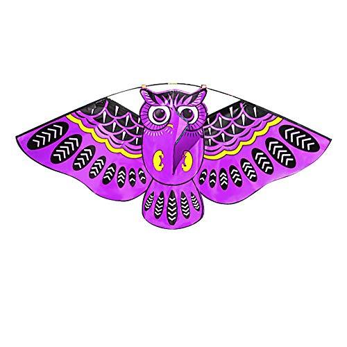 Kinder-Drachen Flugspielzeug Eule Kinderdrachen Flugdrachen Drachen Einleiner für Anfänger Erwachsene Kinder ab 3 Jahren (Violett)