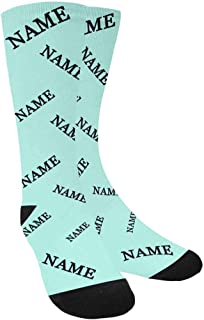 Personalized Photo Printed Crew Socks Solid Color Custom Name Put Your Dog on Crew Socks Unisex