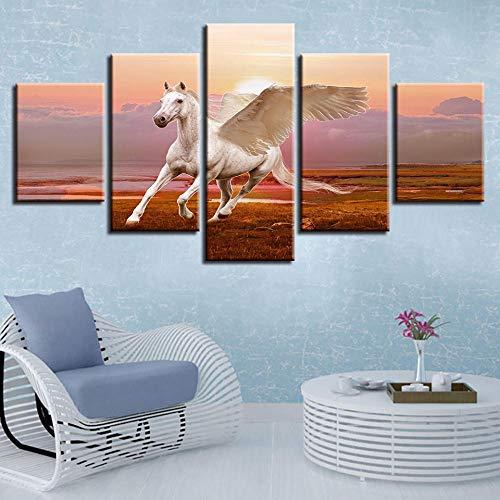 Eternity-Moderne gedrukte decoratieve muurkunst 5 stuks dier schimmel vleugels lopen canvas schilderij modulaire landschapplakkaat