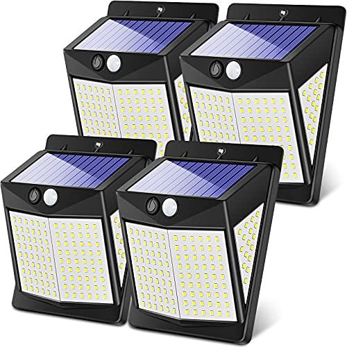Claoner Solar Motion Sensor Lights, 140 LED/3 Modes Wireless Solar Lights Outdoor IP65 Waterproof Security Solar Wall Lights, 2400 Lumens for Front Door, Deck, Garden, Yard, Garage-4 Packs