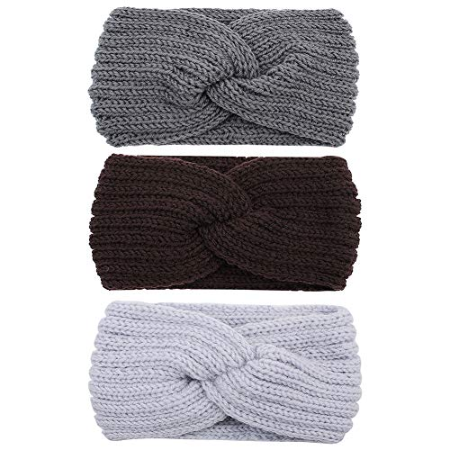 CUBACO 3 Pcs Knotted Headbands for Women, Crochet Knitted Elastic Turban Head Wraps Wide Crochet Hair Bands Vintage Womens Headbands Hairband