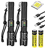 2 Pack LED XHP50 Flashlight 4000 High Lumens Rechargeable Flash Light Zoomable Torch with 3 Modes for Camping Hiking Fishing Outdoor Adventures