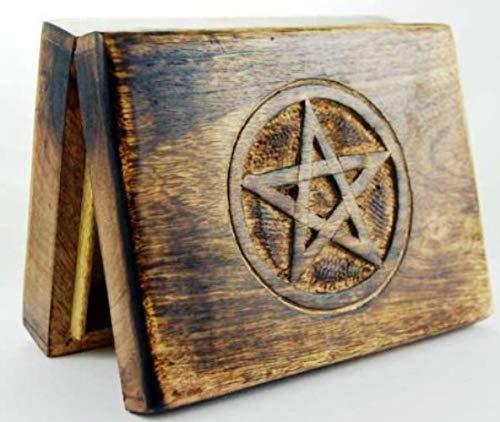 Indus Lifespace Tarotkarten-Box aus Holz mit eingraviertem Pentagramm (17 x 13 cm)