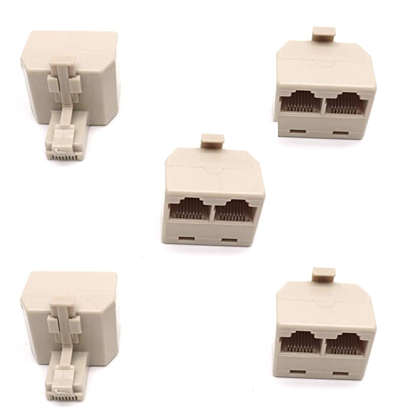 ZXHAO 5pcs RJ45 1 to 2 Dual Phone Line Splitter Wall Jack Split into Two Modular Converter Adapter