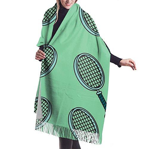 Pelota de tenis y raqueta Bufanda de mujer Pashmina Chal Wrap para vestido de noche de invierno Bufandas de dama de honor