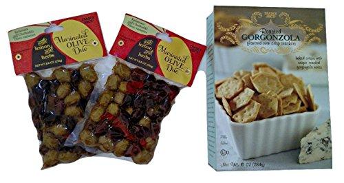 Trader Joe's Marinated Olive Duo and Roasted Gorgonzola Crackers (Bundle)