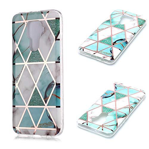 Nadoli Galvanisieren Marmor Handyhülle für Huawei Mate 30 Lite,Weich Silikon Marble Hülle Schlank Bumper Handytasche Flexible Schutzhülle Back Cover,Grün Weiß