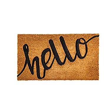 Evergreen Flag 2RM468 Hello Debossed Coir Mat, Multi-Colored