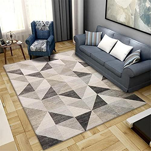 La alfombras Decoracion Mesa Salon Diseño geométrico marrón Negro Transpirable y cómodo se Puede Lavar alfombras Decoracion Cuarto Adolescente Alfombra habitación Matrimonio 180X280CM