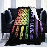 Manta de Tiro Bandera de EE. UU. Orgullo Gay Ultra Suave Micro Fleece Blanketow Súper Suave y acogedora Manta de Cama para Cama Sofá Sofá Sala de Estar Playa Picnic Otoño Primavera Invierno Useow Bla
