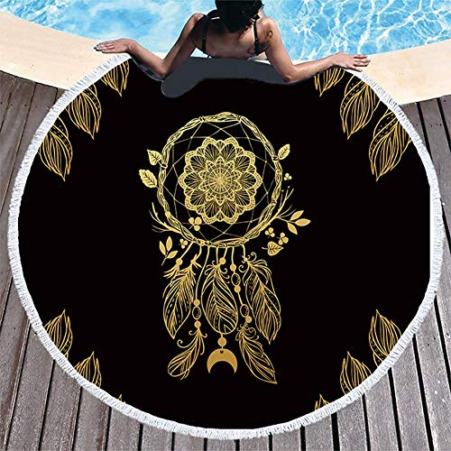 Boyouth Toalla de Playa Redonda, diseño de Luna Dorada con borlas Ultra Suave, Absorbente, Toalla Multiusos