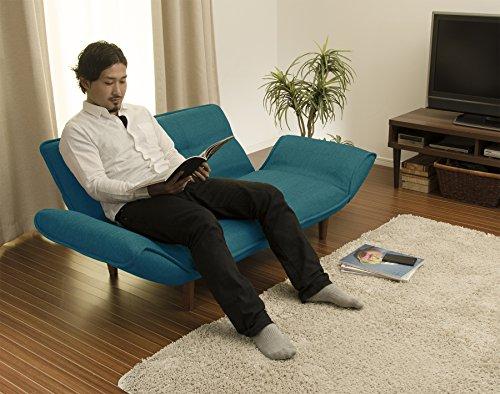 セルタン日本製ポケットコイルカウチソファー和楽の極二人掛けタスクブルー背部肘部14段階リクライニングA01p-585BL