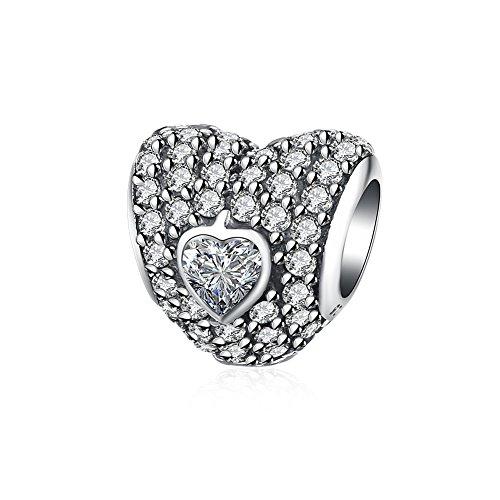 HMILYDYK 'Ti Amo Per Sempre', con cristalli in zirconia cubica e argento Sterling 925, perfetto per i braccialetti Pandora colore: bianco
