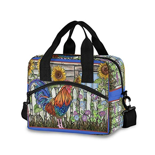 SunsetTrip Animal Rooster Flower Sunflower Lunch Bag for Men Kids Women, Insulated Cooler Bag Reusable Lunch Box Tote Bag with Shoulder Strap Front Pocket for Work School Picnic Office Travel