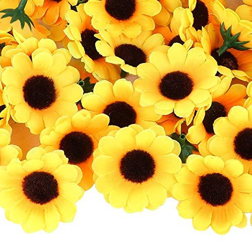 UFLF 100pcs Girasoles Artificiales Amarillas 4cm Cabezas de Flores Artificiales Girasol Decorativas de Seda Flores Falsas para Decoración Hogar Fiestas Ceremonia DIY Manualidad