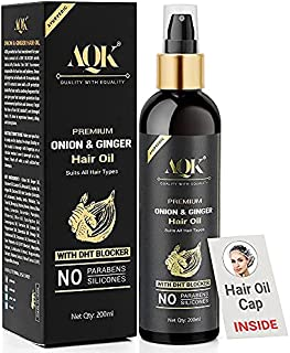 AQK Premium Onion Ginger Pure Ayurvedic Hair Oil - Hair Growth and Controls Hair Fall with 14 Essential Oils 18 Natural Ex...