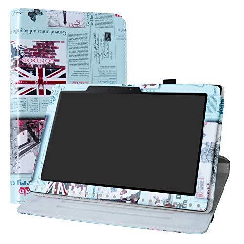Acer Iconia One 10 B3-A50 Hülle,Labanema 360° Drehbarer Cover Kunstleder Schutzhülle Tasche Etui mit Ständerfunktion für Acer Iconia One 10 B3-A50 10,1 Zoll 2018 Tablet - Newspaper