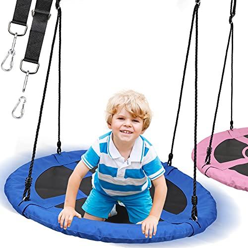 Physionics® Nestschaukel - Outdoor/Indoor, bis 300kg belastbar, Ø 100cm, für Kinder/Erwachsene, Oxford Gewebe - Rundschaukel, Tellerschaukel, Gartenschaukel, Hängeschaukel, Mehrkindschaukel (Blau)