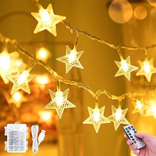 Star String Fairy Lights,7.5M 50LED Battery Powered & USB Operated Waterproof LED String Lights with Remote Timer,8Mode for Christmas Wedding Garden Bedroom Party Birthday Indoor Outdoor(Warm White)