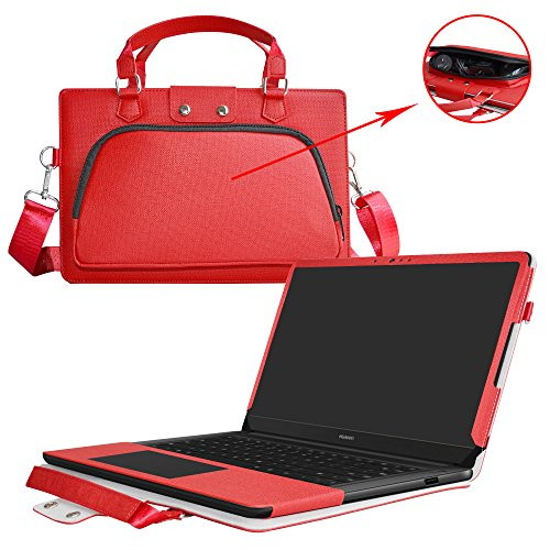"Price comparison product image Huawei MateBook D Case, 2 in 1 Accurately Designed Protective PU Leather Cover + Portable Carrying Bag for 15.6"" Huawei MateBook D Series Laptop, Red"