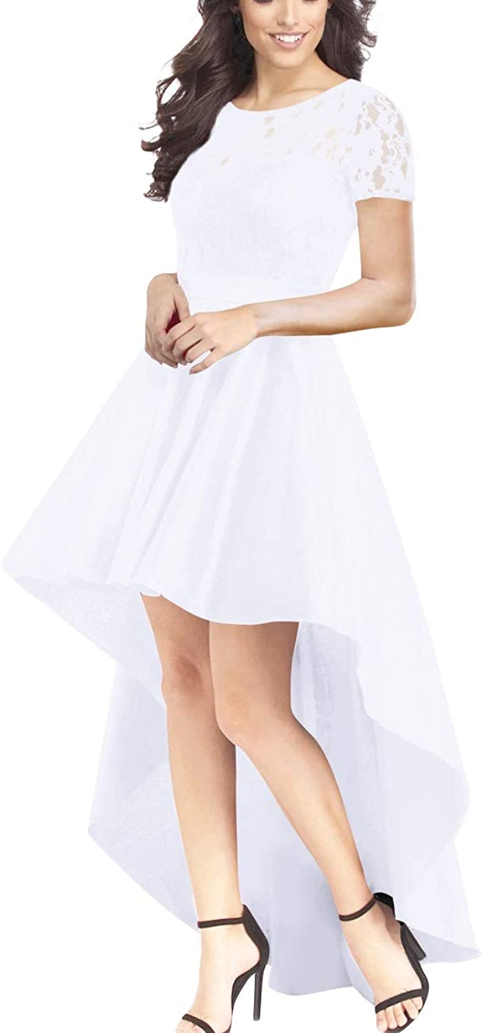 Bess Bridal Women's Lace Short Sleeves High Low Prom Evening Party Dress