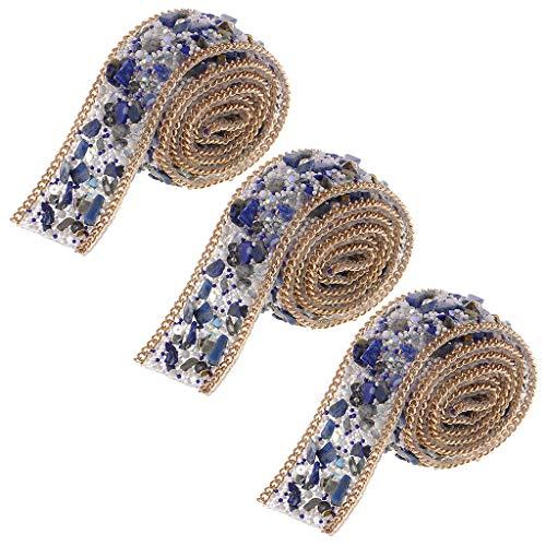 Bonarty 3 Piezas de Hierro en Abalorios de Diamantes de Imitación con Cadena/Aplique de Imitación de Cristal Azul Piedra