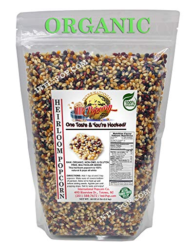 5 lb - ORGANIC, Heirloom, Multi-colored Popcorn Kernels - Low Calorie High Fiber Snack Perfect For Movie Night - Made In The USA - All Natural, Vegan, Non GMO, Gluten Free