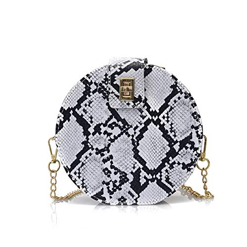 abigail paige Fashion Crossbody Bag Snakeskin Shoulder Bag with Chain Strap for Women (white), Small