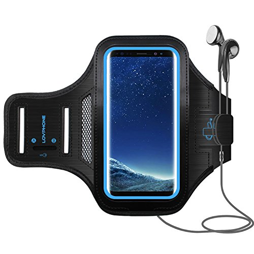 LOVPHONE Galaxy S8 Plus/S9 Plus Armband Sport Running Exercise Gym Sportband Case for Samsung Galaxy S8 Plus/S9 Plus,Fingerprint Sensor Access Supported,Water Resistant and Sweat-Proof(Blue)