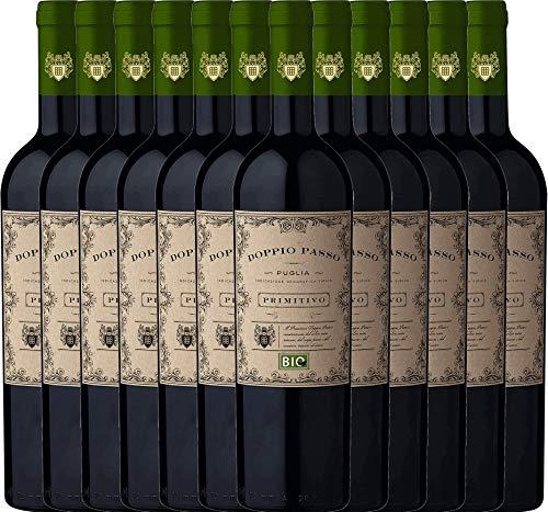 2er Paket - Doppio Passo Bio Primitivo Puglia IGT - CVCB mit VINELLO.weinausgießer | halbtrockener Rotwein | italienischer Bio-Wein aus Apulien | 12 x 0,75 Liter