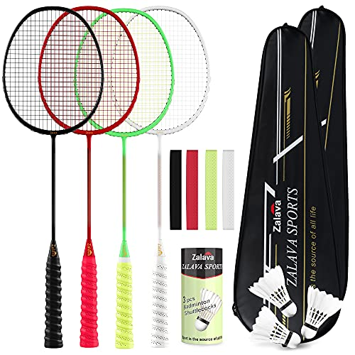 6U Professional Badminton Rackets Super Lightweight Badminton Racquets Set with Wrapped Overgrip, Zalava Badminton Set 4 Pack,Carbon Fiber, Carrying Bag Included,for Beginners and Advanced Players