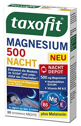 taxofit® Magnesium 500 Nacht   Entspannt die Muskeln im Schlaf & unterstützt das Einschlafen   2x 30 Tabletten   im praktischem Doppelpack