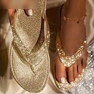Women Flip Flop Slippers Bling Rhinestone Ladies Shoes Casual Summer Flat Female Crystal Glitter Woman Plus Size,personality sandal (Color : Gold, Shoe Size : 38)