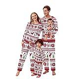 Alueeu Conjunto de Pijamas Navideños Top+Pantalones Set Mamá Papá Niños Bebé Chándal con Estampado Pijamas Navidenos Familiares riou