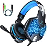 Gaming Headset with Microphone, DM Gaming Headset PC Noise Cancelling Gaming Headphones with LED Light 7.1 Stereo Surround Soft Memory Earmuffs Compatible with PC /PS4/Xbox One/Switch for Kids Adults